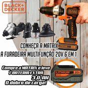 Furadeira Parafusadeira Matrix 6x1 20v B&d C/ Bateria Extra