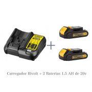KIT Carregador DCB107 Bivolt + 2 Bateria DCB201 20V Dewalt