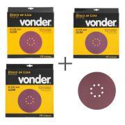 KIT de Disco De Lixa 225mm Grãos 100, 150, 240 Para Lixadeira LPV 600 e LPV1000 Vonder