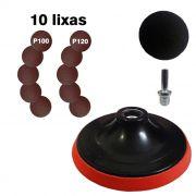 Kit Suporte P/ Disco de Lixa Velcro 125mm + 10 Discos Lixas Velcro