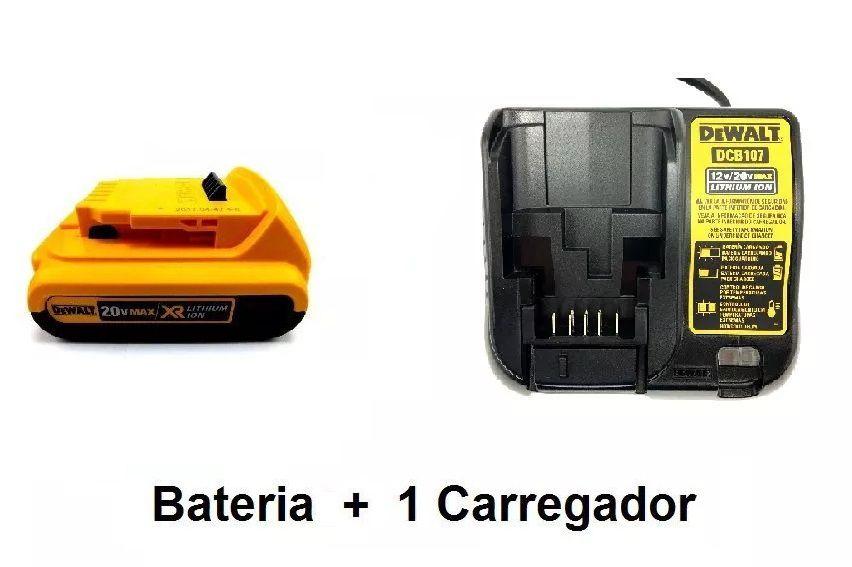 Bateria 20v 2,0Ah XR Dcb203  Dewalt + Carregador DCB107 Bivolt Dewalt (um)