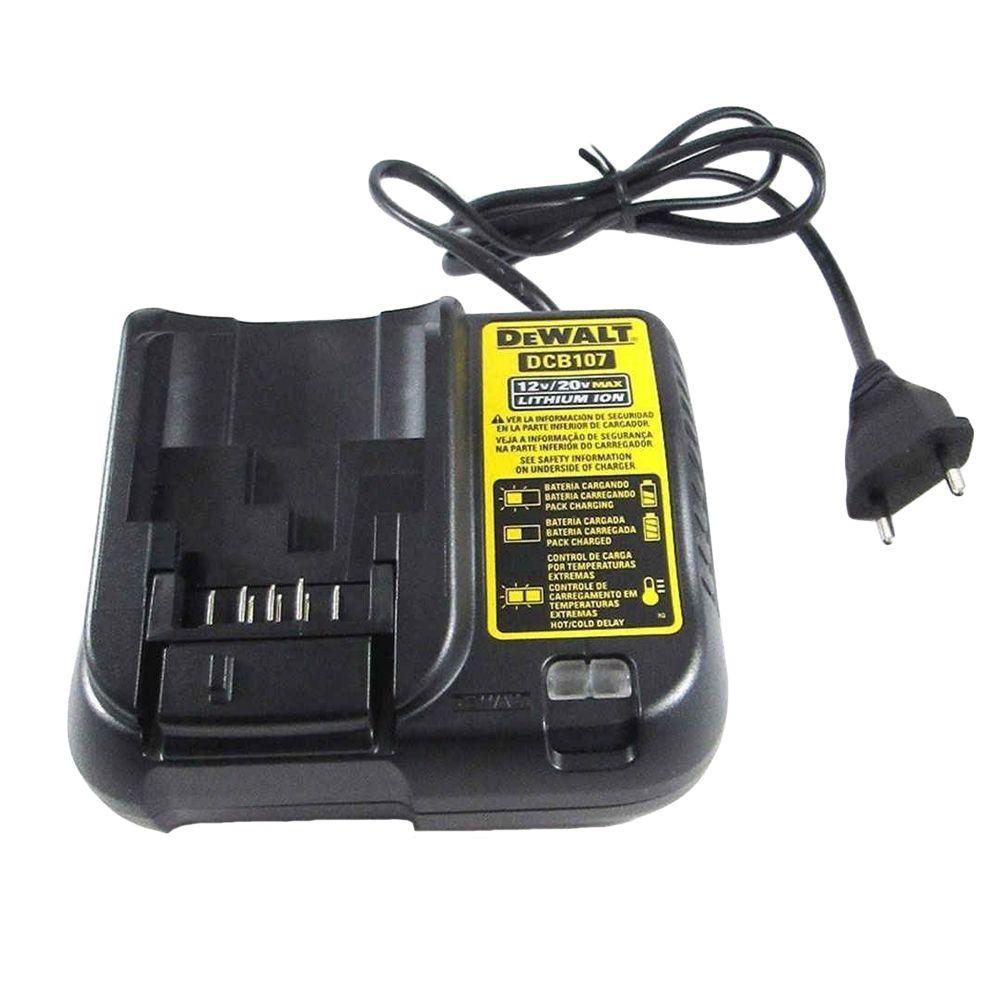 Carregador Bateria Lítio 12v/20v P/Parafusadeira Dcb107 DeWALT N462057