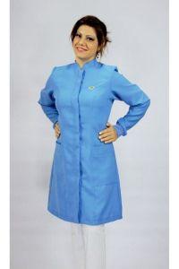 Jaleco colorido azul indigo com gola de padre - Modelo Colors