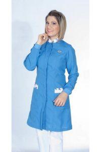 Jaleco colorido com gola de padre e detalhes estampados - Modelo Novembro Azul