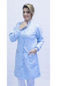 Jaleco feminino com gola de padre - Modelo Basic Azul