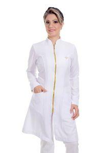 Jaleco feminino com gola de padre - Modelo Dhara Branco