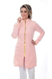 Jaleco feminino com gola de padre - Modelo Dhara Rosa Blush