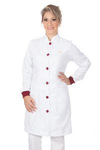 Jaleco feminino gola de padre e detalhes coloridos - Modelo Elegans Branco com Bordô