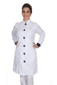 Jaleco feminino gola de padre e detalhes coloridos - Modelo Elegans Branco com Azul
