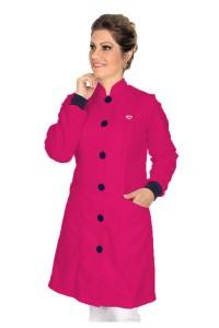 Jaleco feminino gola de padre e detalhes coloridos - Modelo Elegans Pink com Azul