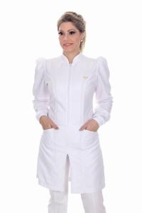 Jaleco feminino gola de padre - Modelo Dafiny Branco Zíper