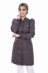 Jaleco feminino gola de padre - Modelo Dafiny Cinza Grafite
