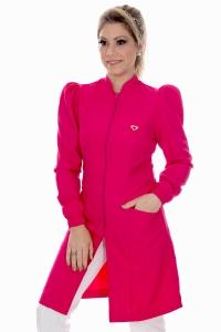 Jaleco feminino gola de padre - Modelo Dafiny Pink Zíper