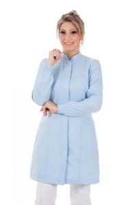 Jaleco feminino gola de padre - Modelo New Colors Azul-Claro
