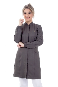 Jaleco feminino gola de padre - Modelo New Colors Cinza Grafite
