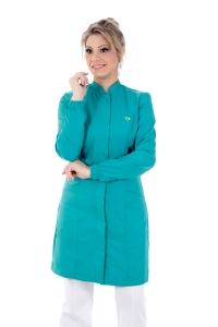 Jaleco feminino gola de padre - Modelo New Colors Turquesa