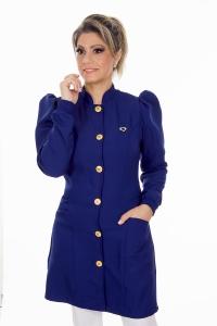 Jaleco feminino gola padre - Modelo Dafiny Azul Navy