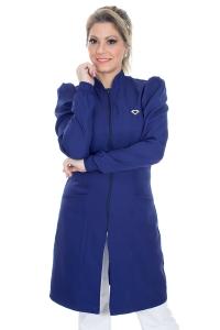 Jaleco feminino gola padre - Modelo Dafiny Azul Navy Zíper
