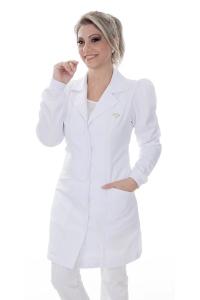 Jaleco feminino gola tradicional - Modelo Yara Branco Neve