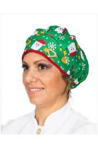 Touca cirúrgica com estampa natalina verde noel