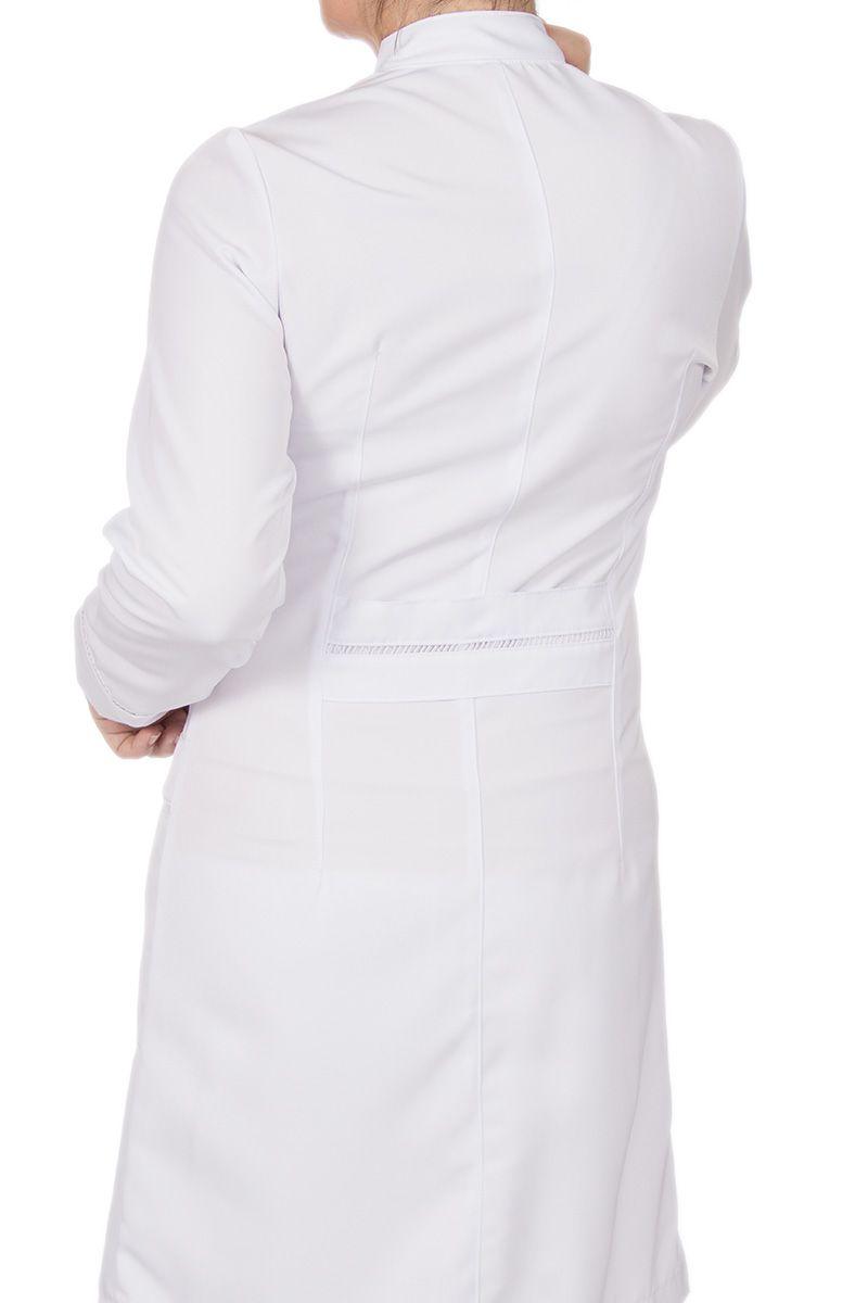 Jaleco branco com gola de padre e renda - Modelo Vicenza