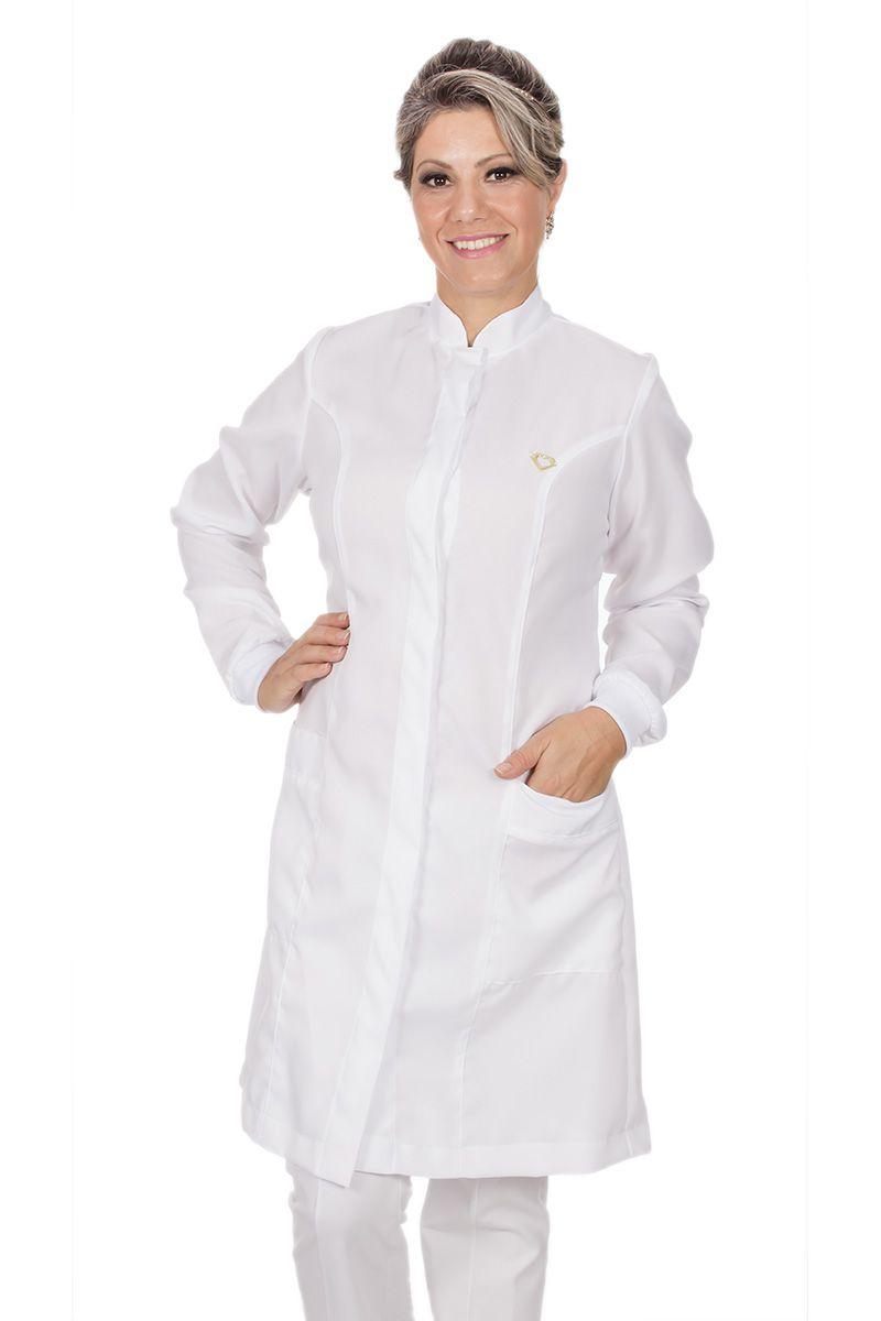 Jaleco branco com gola de padre - Modelo Colors