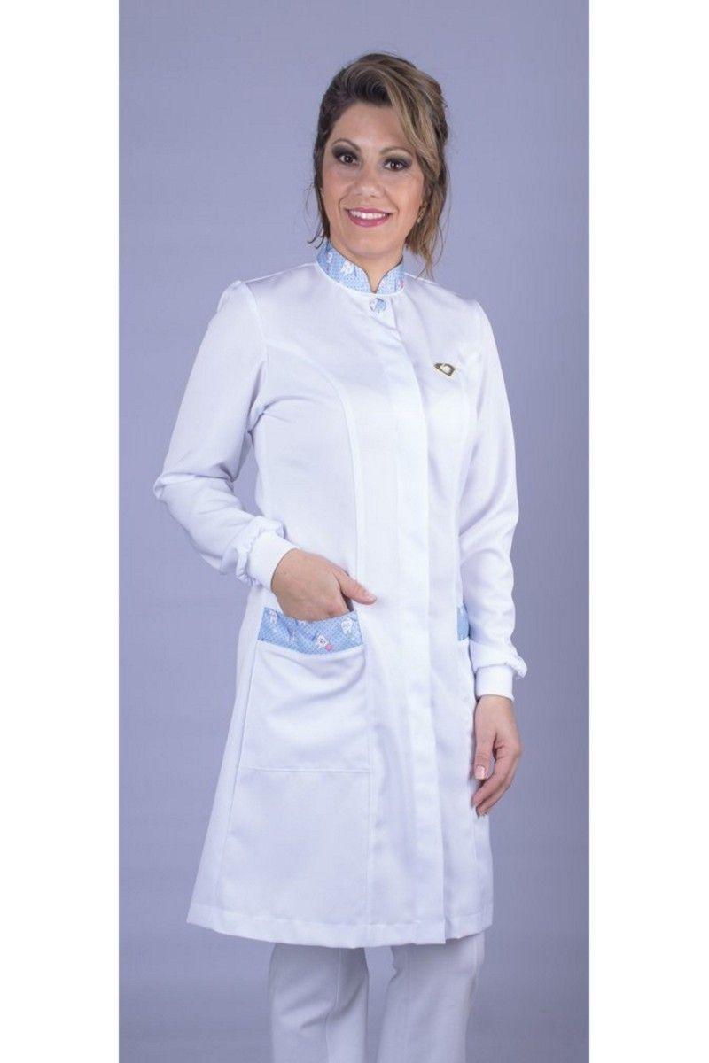 Jaleco branco com gola de padre - Modelo Quartzo Escova Azul
