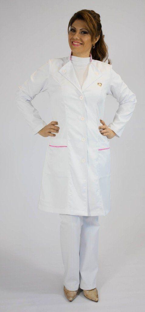 Jaleco branco com gola mista e viés colorido - Modelo Safira