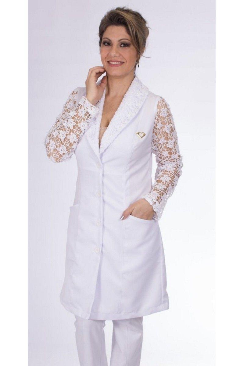 Jaleco branco com gola xale e renda - Modelo Charme
