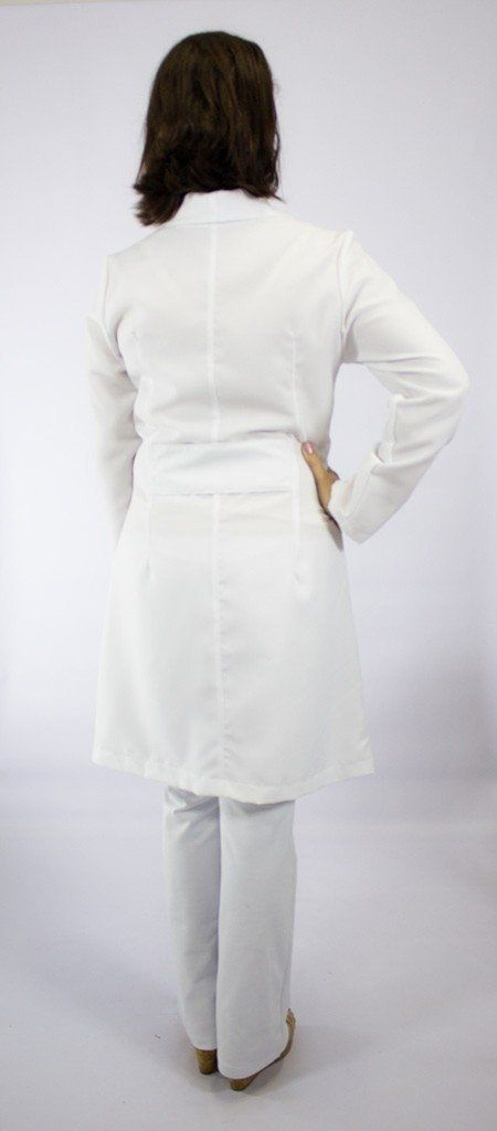 Jaleco branco com gola xale - Modelo Lótus