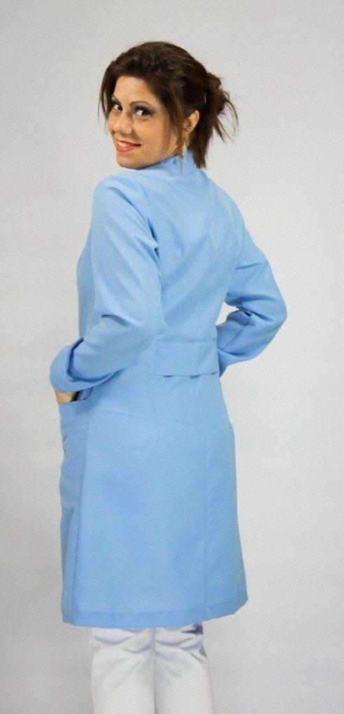 Jaleco colorido azul bebê com gola de padre - Modelo Colors
