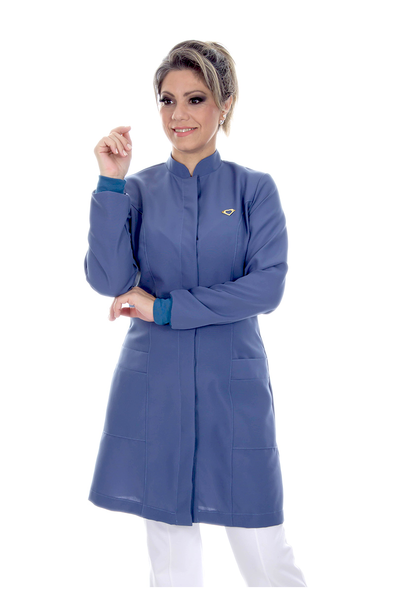 Jaleco colorido azul blue jeans com gola de padre - Modelo Colors