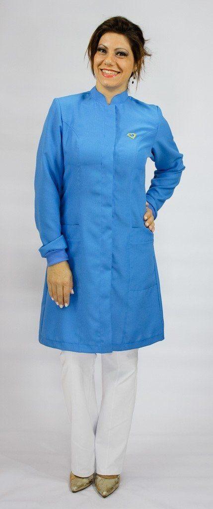 Jaleco colorido azul indigo com gola de padre - Modelo Colors  - Inform Jalecos