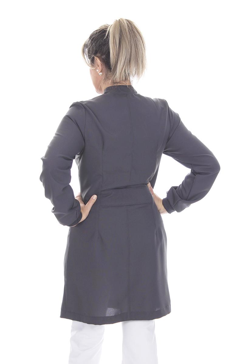Jaleco colorido cinza brasão com gola de padre - Modelo Colors