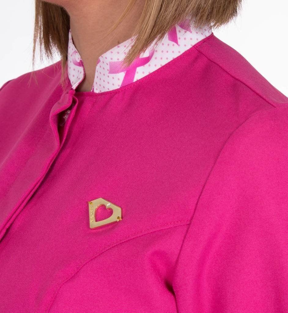 Jaleco colorido com gola de padre e detalhes estampados - Modelo Outubro Rosa