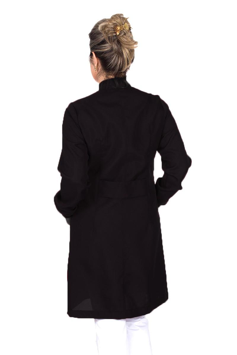 Jaleco colorido preto com gola de padre - Modelo Colors