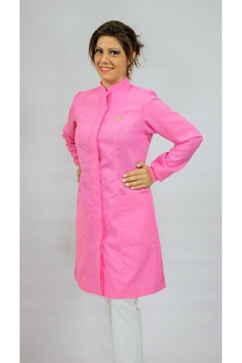 Jaleco colorido rosa chiclete com gola de padre - Modelo Colors