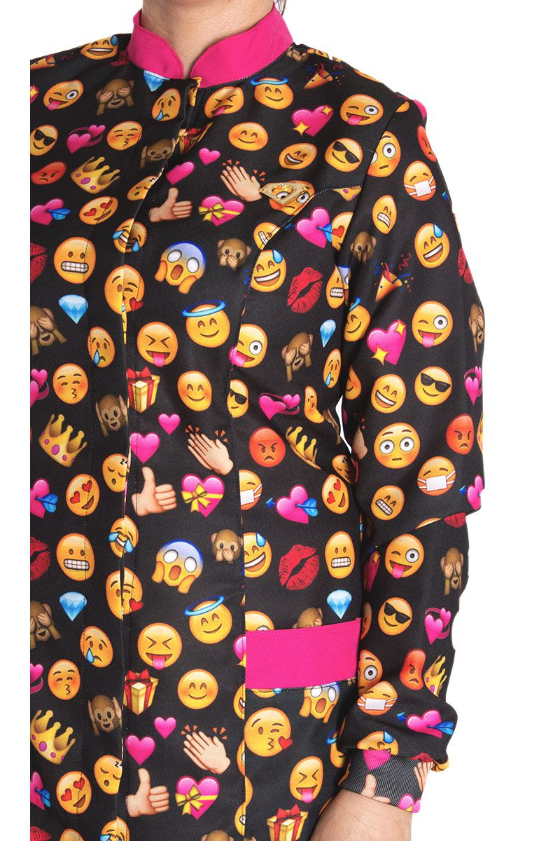 Jaleco estampado com gola de padre - Modelo Onix Emojis