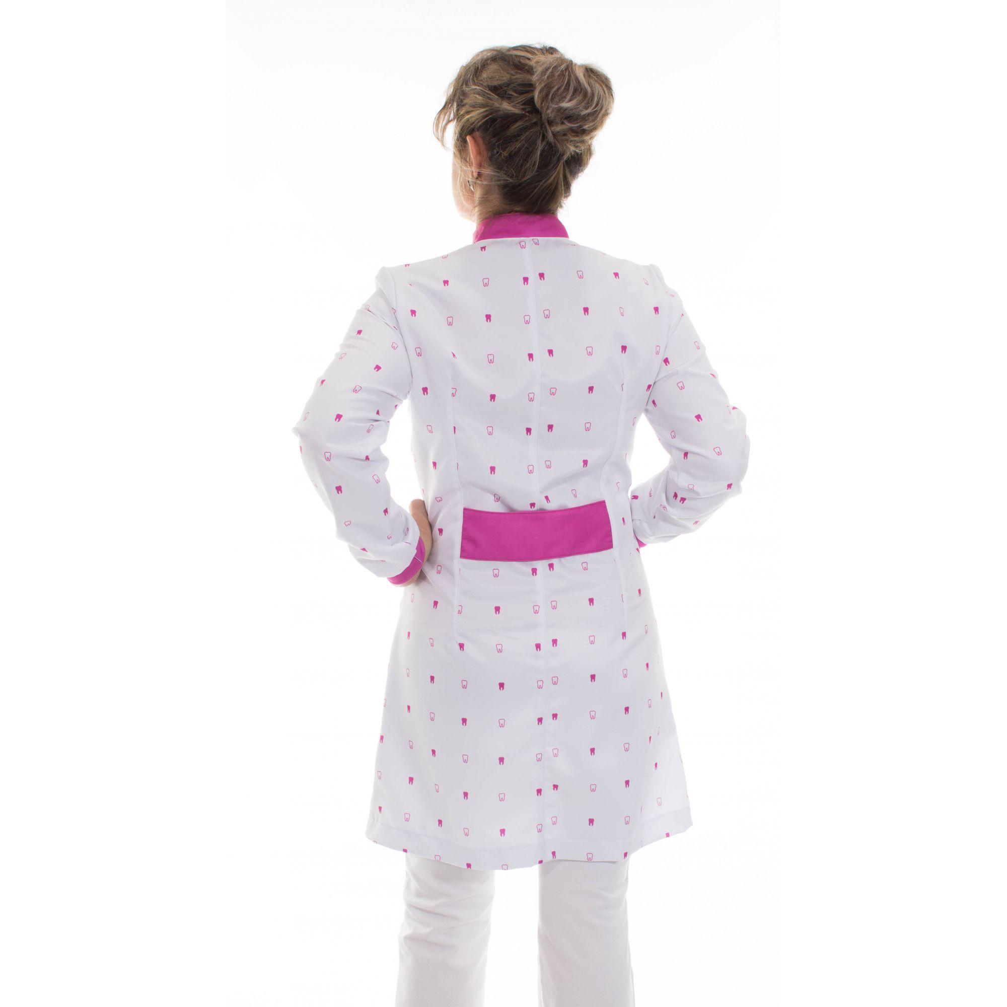 Jaleco estampado gola padre - Modelo Elegans Mini Dentes Pink