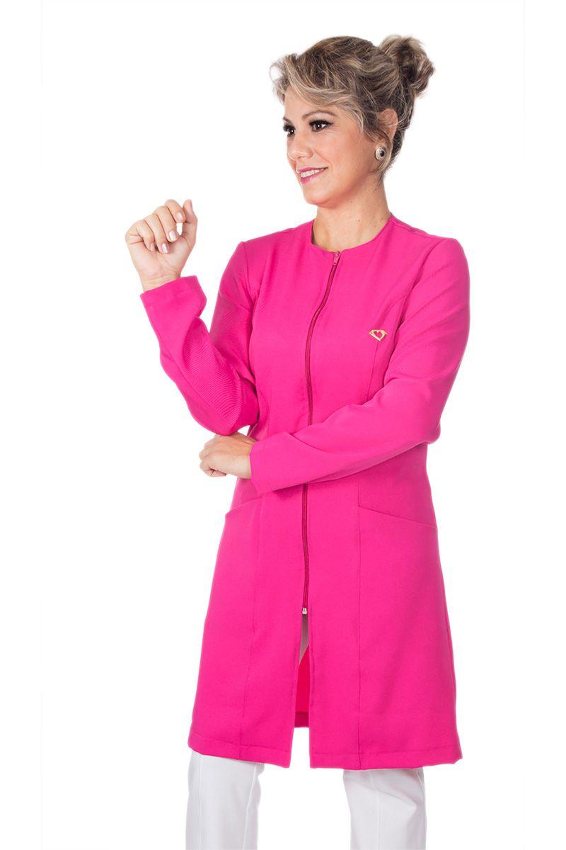 Jaleco feminino zíper com degote redondo - Modelo Candy - Pink