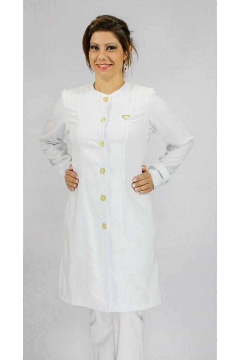 Jaleco feminino com degote redondo - Modelo Lírios