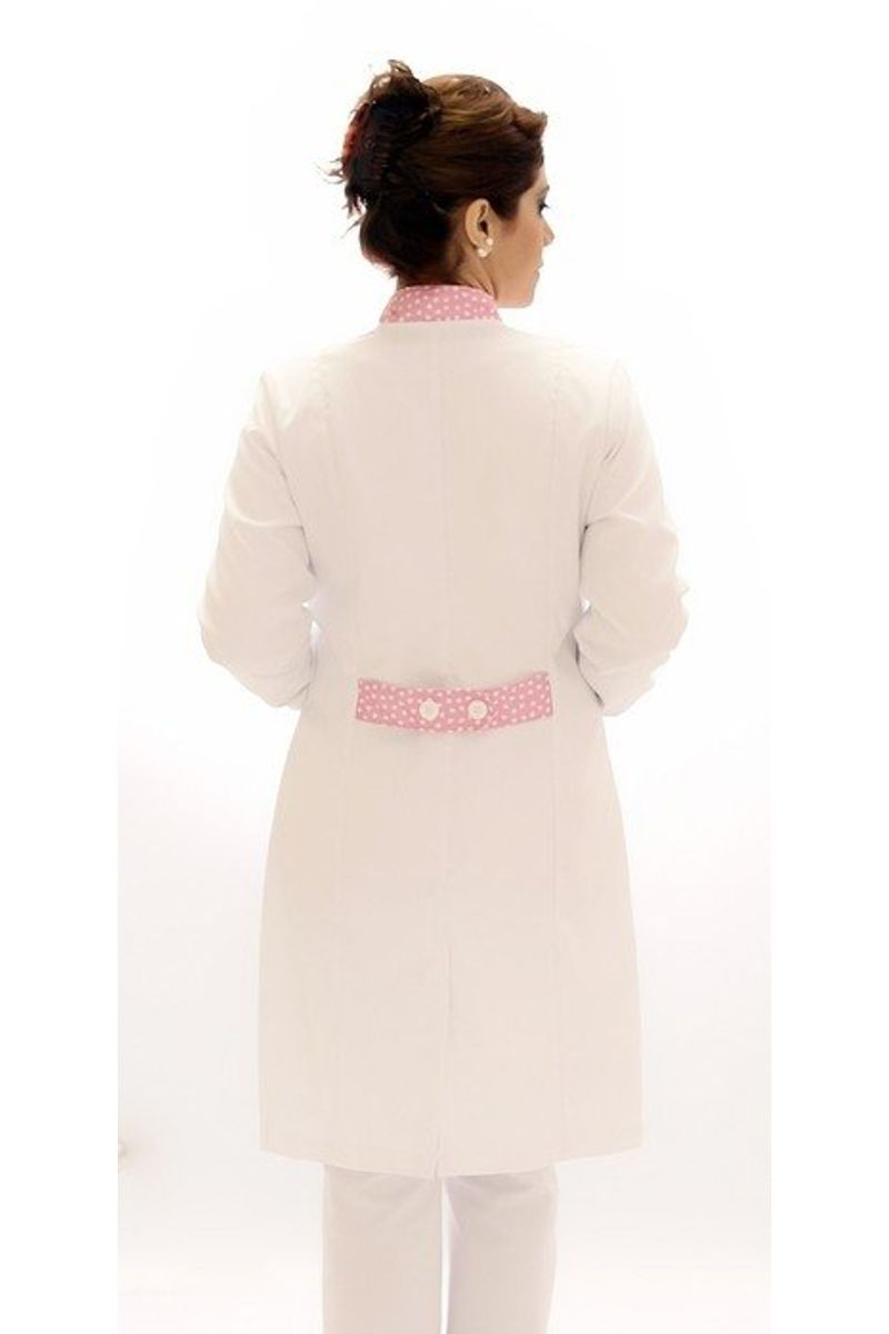 Jaleco feminino com gola de padre - Modelo Ágata Corações Rosa