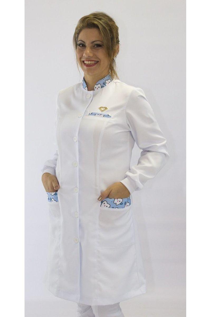 Jaleco feminino com gola de padre - Modelo Ágata Dentinho Azul