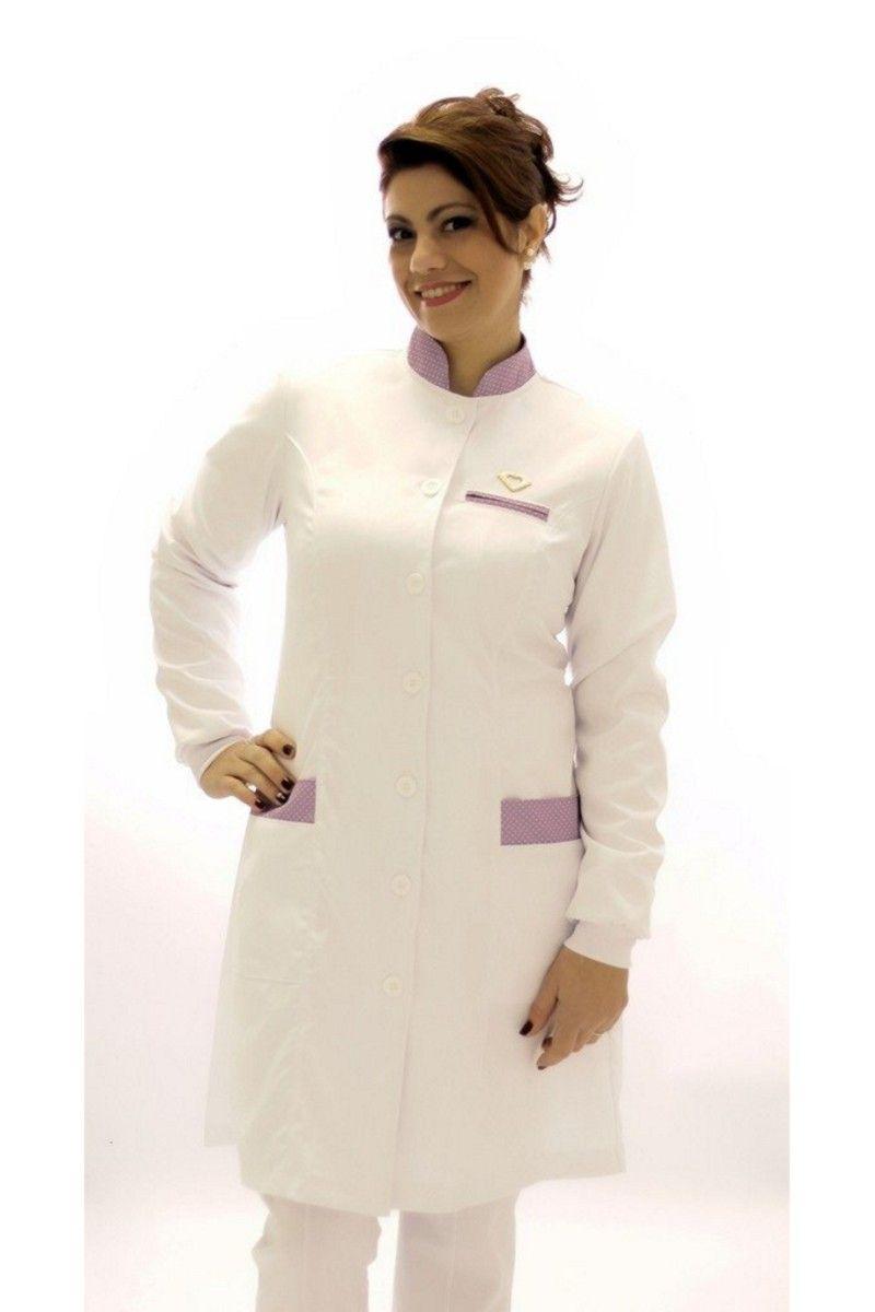 Jaleco feminino com gola de padre - Modelo Ágata Poá Lilás