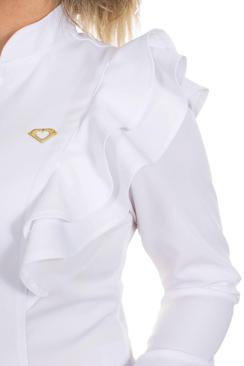 Jaleco feminino com gola de padre - Modelo Aurora  - Inform Jalecos