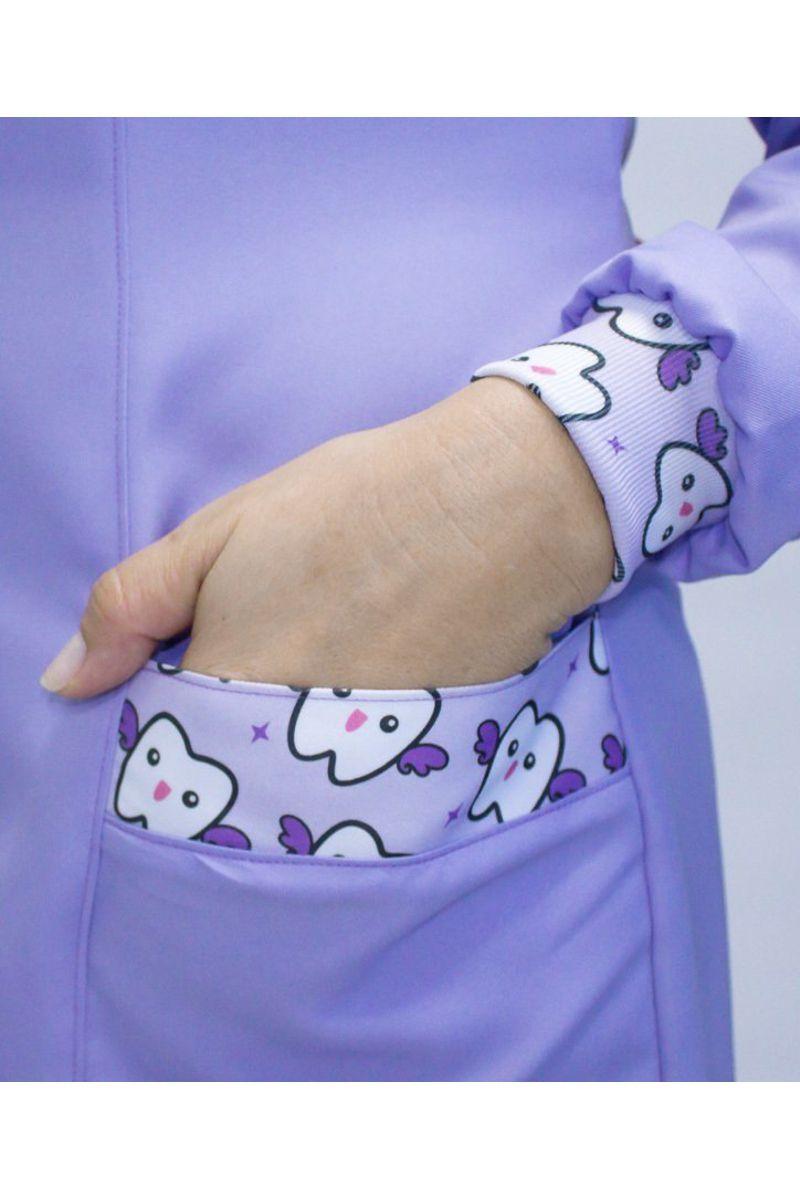 Jaleco feminino com gola de padre - Modelo Basic Lilás