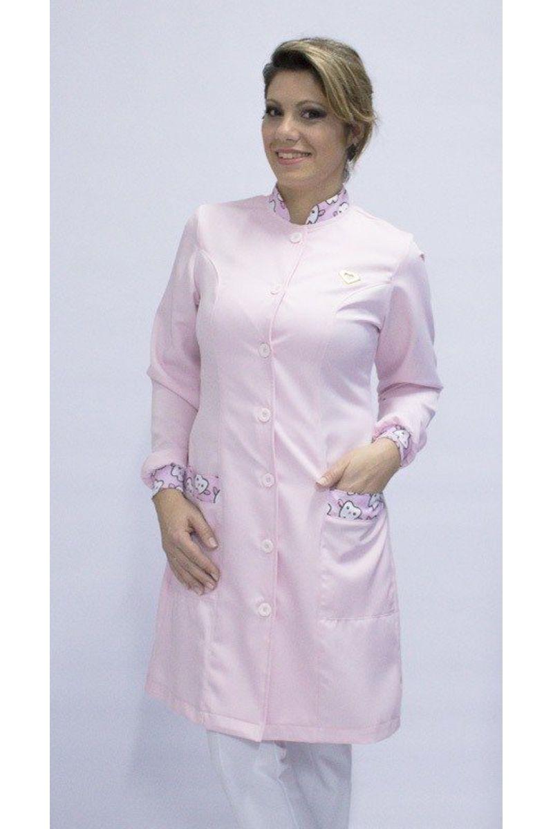 Jaleco feminino com gola de padre - Modelo Basic Rosa