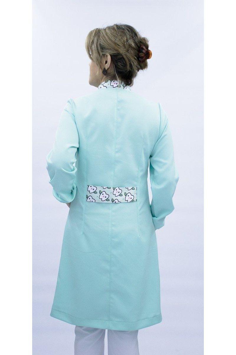 Jaleco feminino com gola de padre - Modelo Basic Verde