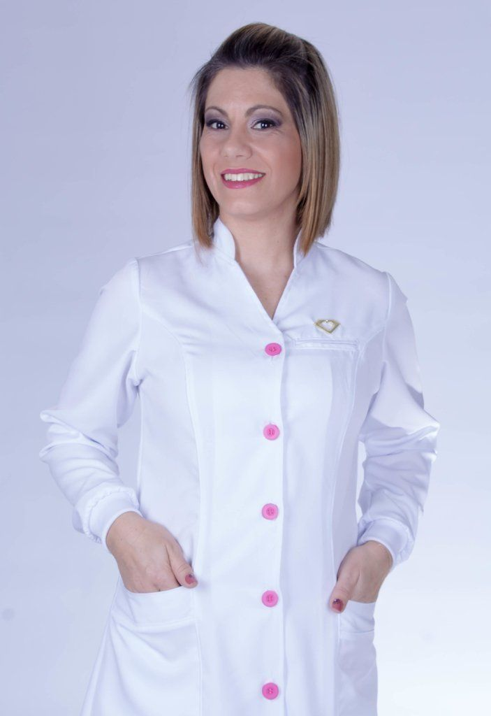 Jaleco feminino com gola de padre - Modelo Bellus Branco