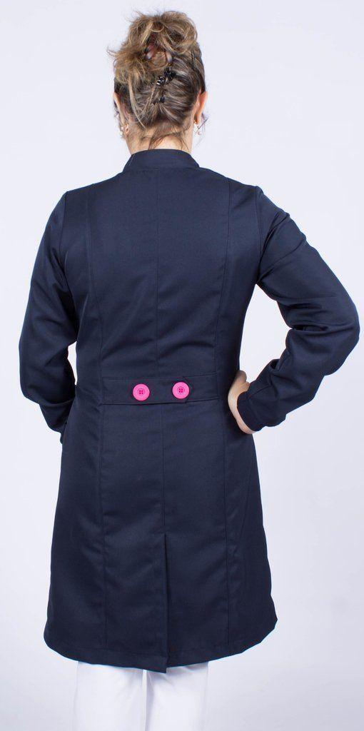 Jaleco feminino com gola de padre - Modelo Bellus Azul Marinho